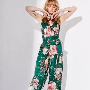 Free People | Green Floral Jumpsuit